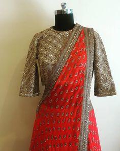 It cannot get more Bridal! Beautiful bridal designer sareewith gold color designer blouse. 26 May 2017