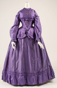 "1866-69 dress....in that wildly popular shade of ""mauveine"", the first synthetic dye..."
