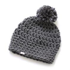 Crocheted hat PomPom in grey Slouchy Hat, Beanie, Crochet Baby, Knit Crochet, Pom Pom Hat, Crochet For Beginners, Beret, Little Ones, Babys