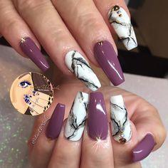 "1,830 Likes, 19 Comments - J E A N N E T T E (@iluvurnailz) on Instagram: ""▫️▪️Muave-y Purple & White Marble ▪️▫️"""