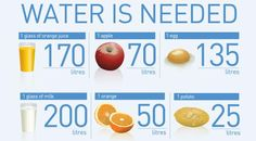 How much water is needed to produce ...? via FAO