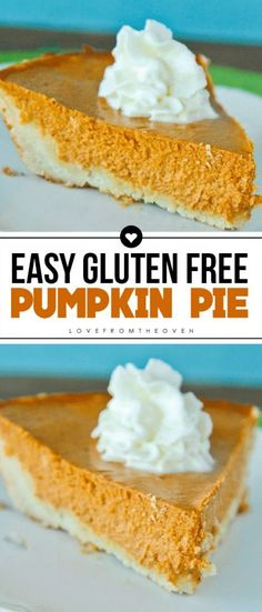 Easy Gluten Free Pumpkin Pie Baking Recipes To Try Dairy Free Pumpkin Pie, Gluten Free Pie, Gluten Free Sweets, Pumpkin Pie Recipes, Dairy Free Recipes, Baking Recipes, Gf Recipes, Oven Recipes, Easy Recipes