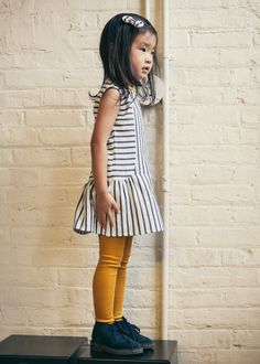 Little girl's SHIFT DRESS sewing inspiration. Love the ruffle and the mustard tights too!