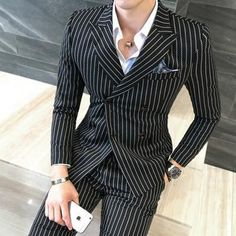 Wedding Dress Suit, Dress Suits, Men Dress, Men's Suits, Wedding Jacket, Double Breasted Pinstripe Suit, Mens Fashion Suits, Fashion Outfits, Overalls Fashion