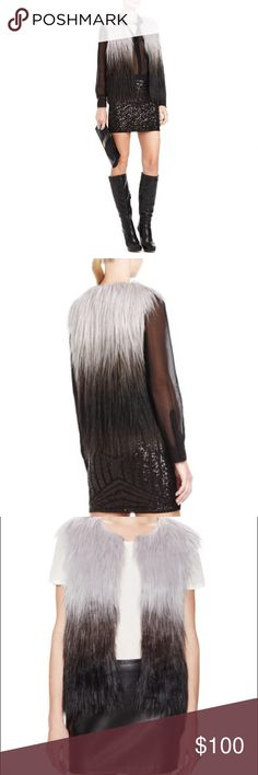 BCBGMaxAzria Bonni Ombré Faux Fur Vest Gorgeous, Worn once, as is all my clothes, smoke free, pet free, childfree home. No rips, no stains, no smells! Offers welcomed BCBGMaxAzria Jackets & Coats Vests