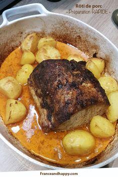 Ma recette de Rôti de porc à la sauce piquante : super rapide à préparer, c'est le four qui fait tout le boulot !
