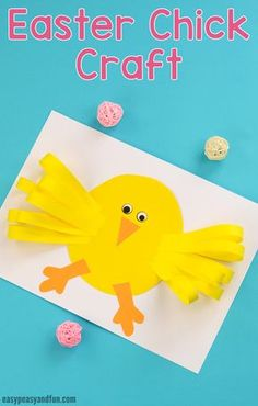 easypeasyandf… wp-content uploads 2018 02 Easter-Chick-Paper-Craft-for-Kids. Easter Arts And Crafts, Animal Crafts For Kids, Paper Crafts For Kids, Crafts For Kids To Make, Spring Crafts, Holiday Crafts, Art For Kids, Chicken Crafts, Easter Activities