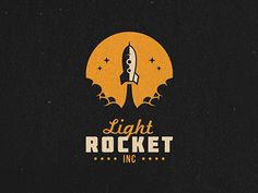 Light Rocket - Logo Design - Logomark, Illustrative, Rocket, Space, Smoke, Stars, Orange, Black