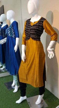 Churidar Designs, Kurta Designs Women, Indian Designer Outfits, Indian Outfits, Designer Dresses, Kalamkari Dresses, Ikkat Dresses, Dress Neck Designs, Blouse Designs