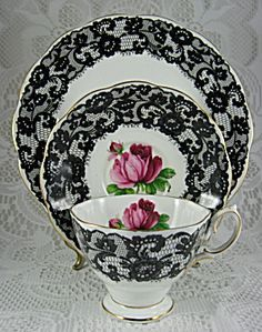 Royal Albert Cup And Saucer With Plate Seniorita Black Lace