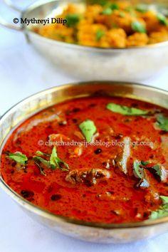 Vatha Kuzhambu( Spicy Tamarind Curry) http://chettinadrecipesblog.blogspot.com.au/2013/07/vatha-kuzhambu-manathakkali-kulambu.html