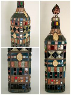 Decorated bottle by Lucano Mosaico.