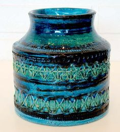 Vintage Bitossi Raymor Pottery Vase Blue Aldo Londi Mid Century Modern