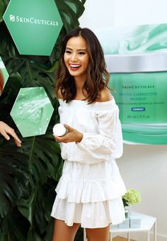The actress gets pampered during the SkinCeuticals Phyto Corrective Masque launch event in Los Angeles.