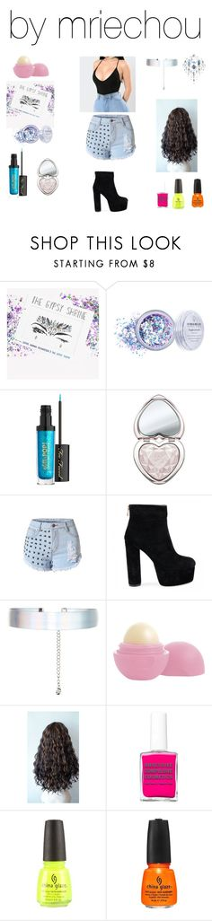 """Untitled #511"" by mriechou ❤ liked on Polyvore featuring Too Faced Cosmetics, WithChic, Accessorize, Eos, China Glaze and The Gypsy Shrine"
