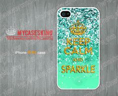 Faux Sparkle Keep Calm iPhone 4 case Keep Calm iPhone 4s case Keep Calm iPhone 4g case iPhone Hard/Rubber case-Choose Your Favourite Color by MyCasesKing, $6.99
