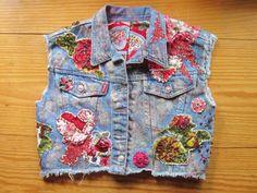 This item is unavailable Vintage Costume Jewelry, Vintage Costumes, Fabric Embellishment, Sequin Appliques, Blue Jean Jacket, Petite Women, Vintage Denim, Victorian Fashion, Hearts