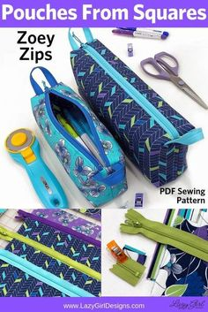 Everyone needs small zip pouches and they make wonderful gifts for everyone. Make cute zipper pouches from fabric squares. Extra zipper length is used to make basket-style zipper handles. Two sizes to keep all your goodies organized. Zipper pouches will keep you organized at home and on the go! Small zipper pouches are wonderful for the sewing room, suitcase organization, or as a pencil case, and more. Small Zipper Pouch, Zipper Bags, Sewing Hacks, Sewing Tutorials, Sewing Tips, Tutorial Sewing, Bag Tutorials, Sewing Crafts, Lazy Girl Designs