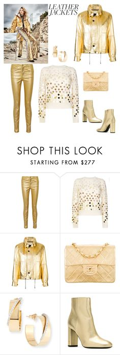 """""""Saint Laurent metallic jacket"""" by horcal ❤ liked on Polyvore featuring Étoile Isabel Marant, Marc Jacobs, Yves Saint Laurent, Chanel, Lana and leatherjackets"""