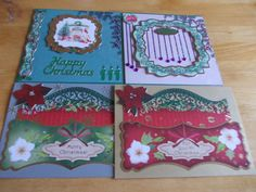 4 X CHRISTMAS CARDS, HAND-MADE
