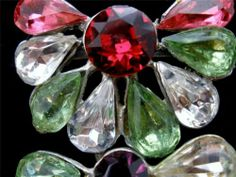Pink Green Red Rhinestone Brooch Antique Pot Metal Pin Christmas Art Deco | eBay