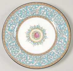 Manufacturer Status: Discontinued Actual: 1962 - 1963 Pattern: Praze-Turquoise by WEDGWOOD CHINA [WW PRAT] Pattern #: W2830 Description: TURQUOISE BAND,FLORAL TINTAGEL CENTER Antique China, Vintage China, Wedgewood China, Fine China Patterns, Willow Pattern, Porcelain Dinnerware, Vintage Plates, Plate Design, China Painting