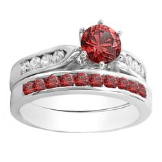 Elora 14k Gold 1ct TGW Round-cut Ruby and White Diamond Accent Engagement Ring Set (I-J, I1-I2) (Size 9.5, Yellow Gold), Women's, Red