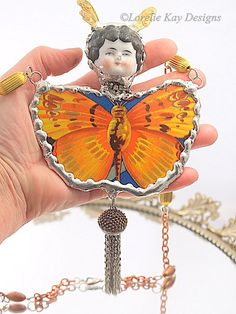 BIG Butterfly Statement Necklace China Head by loreliekaydesigns