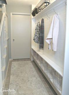 Hallway mudroom ideas lovely narrow hallway mudroom using ly 5 5 inches of depth hallwayideas Front Hall Closet, Hallway Closet, Long Hallway, Hallway Storage, Ikea Hallway, Dark Hallway, Hallway Rug, Closet Bedroom, Small Entryways