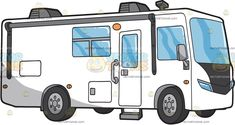 A Motorhome Vehicle : A white recreational vehicle that looks like a bus with gray trimmings air conditioner glass windows a gray door step and four tires Travel Clipart, Grey Doors, Door Steps, Vector Illustrations, Motorhome, Recreational Vehicles, Conditioner, Windows, Gray