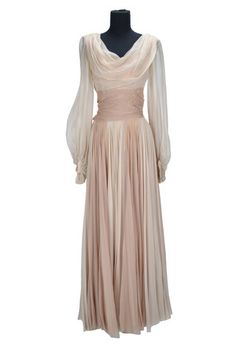 """Taina Elg """"Angele Ducros"""" champagne chiffon gown designed by Orry-Kelly from Les Girls"""