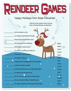 25 Ways to Spend your Christmas Holidays Printable Reindeer Games - theyre like fun riddles.who WOULD you find cleaning the bathroom? Christmas Trivia, Office Christmas Party, Christmas Games, Xmas Party, Family Christmas, Christmas Traditions, Winter Christmas, Winter Holidays, Christmas Ideas
