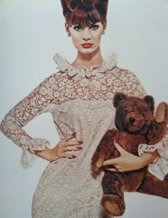 Jean Shrimpton models with a cuddly companion