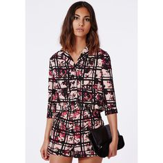 Missguided Cathy Floral Check Print Shorts ($30) ❤ liked on Polyvore featuring pink, high-waisted shorts, high rise shorts, flower print shorts, checkered shorts e pink floral shorts