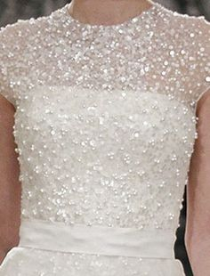 Bridal Gowns: Reem Acra A-Line Wedding Dress with High Neck Neckline and Waistline