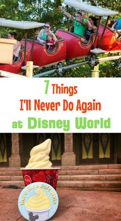 Walt Disney World vacation tips, mistakes, and secrets -- 7 Things I'll never do again. From riding The Barnstormer in Magic Kingdom to eating a pineapple soft-serve Dole Whip snack to getting the Disney Dining Plan to wearing sneakers (I prefer sandals) Disney On A Budget, Disney World Vacation Planning, Disney Planning, Disney Vacations, Disney Trips, Trip Planning, Dole Whip Disney World, Walt Disney World Rides, Disney Parks