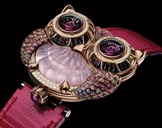 Max Busser's Owl watch in collaboration with Boucheron, pink version.  Pink quartz, sapphire and diamond version of the JWLRYMACHINE