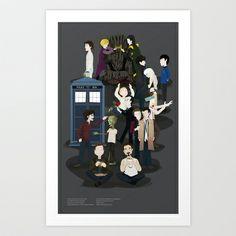 Fantasy World Vol. 1 Art Print  - $14.77  Sherlock, Dr. Who, Hannibal, Supernatural, Game Of Thrones, Spock, Tony Stark, Loki