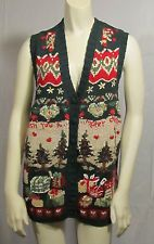 WOMENS SIZE XL HEIRLOOM COLLECTIBLES UGLY CHRISTMAS SWEATER BUTTON-UP VEST