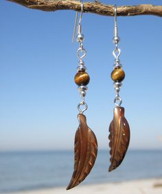 Chocolate Brown Shell Feather Earrings with by WaningTideDesigns, $14.99