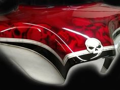 Custom Motorcycle Paint Candy Red 2 Tone Skulls, Airbrushed Tank, motorcycle tank, airbrush by frank hazen Skull Painting, Air Brush Painting, Car Painting, Custom Motorcycle Paint Jobs, Custom Bikes, Bullet Bike Royal Enfield, Auto Paint, Bagger Motorcycle, Candy Red
