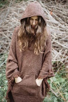 Thick Wool Poncho with Hoodie  Unisex  by PrimitiveTribalCraft