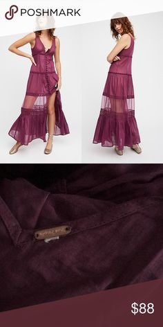 FREE PEOPLE Victoria Button Front Maxi- Plum New without tags, never worn. * Inner tag cut to prevent store returns Free People Dresses Maxi
