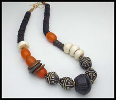 AFRICA - Ancient Spindle Whorl - Mixed African & Tibetan - Ancient Bone - 5 Strand Handknotted 1 of a Kind Necklace African Beads, African Jewelry, Tribal Jewelry, Beaded Jewelry, Handmade Jewelry, Beaded Bracelets, Necklaces, Orange Necklace, Layered Necklace