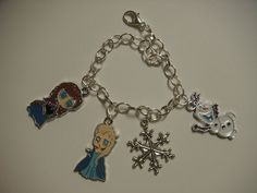 Disney Frozen charm bracelet with enamel charms of Elsa, Anna, Olaf, and a snowflake created by Suzq Chic  $15