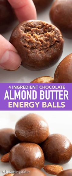 Paleo Energy Balls: just 4 ingredients for delicious, protein-packed healthy Almond Butter Balls—paleo recipe! These no bake energy balls are bursting with chocolate, vegan, gluten-free & dairy-free! Chocolate Balls Recipe, Chocolate Protein Balls, Chocolate Almond Butter Recipe, Paleo Energy Balls, No Bake Energy Bites, Healthy Energy Bites, Energy Snacks, Vegan Snacks, Healthy Snacks