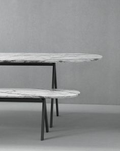 Saw Series table and bench (marble)