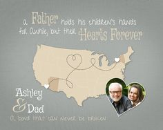 Fathers Day Gift, Long Distance Gift, Moving Away Gift, Father Quote, US Map Print with Photo, Birthday Present for Dad by KeepsakeMaps on Etsy #FathersDayGiftIdea #LongDistanceGift #FatherQuotePrint