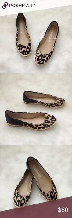 Diane Von Furstenberg Cheetah Print Flats🐯 Diane Von Furstenberg Cheetah Print Flats🐯 Size: 7.5 Condition: Used  Very Stylish and comfy flats, worn about 3 times, flats are very soft. Pair these with leather leggings or blue denim jeans 👖💋  Originally purchased at Nordstrom for $150 + tax, they do not come with box or dust bags. Shoes do have 1 small flaw of dents on back leather heel part (see 4th pic) it's barley noticeable.Grab these while you can🐯  In Bin: F3 **All items from my…