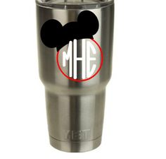 Monogram Mickey Vinyl Decal for Yeti Cup/Tumbler! by RedandthePug on Etsy